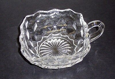 "Fostoria AMERICAN Elegant Glass 4 1/4"" Square Nappy Handled Dish Bowl"