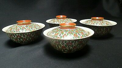 "Antique Chinese Wucai Qing Dynasty 6"" Porcelain Serving Rice bowls Set x4"