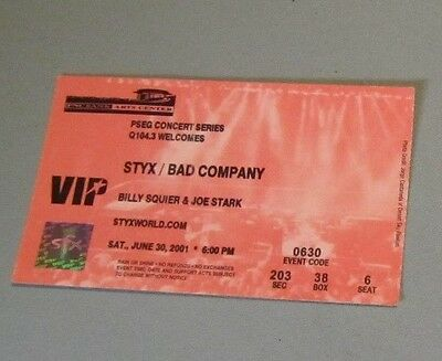 2001 Styx Bad Company Billy Squier VIP Concert Ticket Stub PNC Bank Arts Center