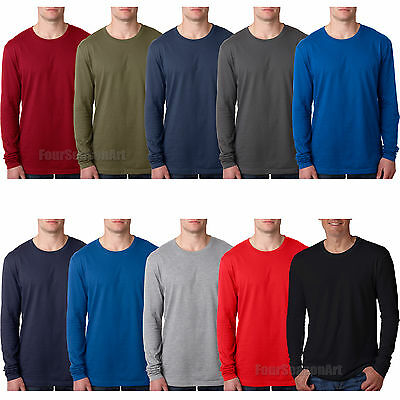67d4b28021ab NEXT LEVEL MENS Premium Fitted Cotton Long Sleeve Crew T Shirt 3601 ...