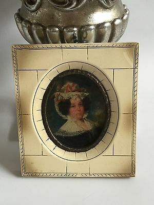 Miniature Lithograph Print of a 19th Century a Lady wearing a bonnet