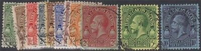 TURKS AND CAICOS KGV 1928 Set of 11 Values Scott 60-70  SG176-186 Used cv £200