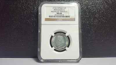 1974 Cyprus silver 3 pounds - NGC MS64