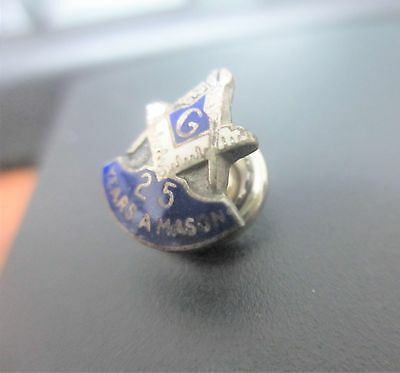 Antique Vintage Sterling Silver Masons 25 Year Pin