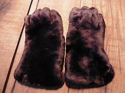 Genuine WW2 Beaver Lamb Gloves 40s Gauntlets Wartime Utility Unisex Vintage CC41