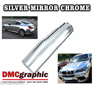 40x152cm Silver Chrome Gloss Stretchable Mirror Vehicle Vinyl Wrap Bubble Free