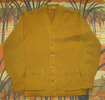 vtg 1950s HOUSE OF HARTER GOLD WOOL LETTERMAN VARSITY BUTTON SWEATER small 50s