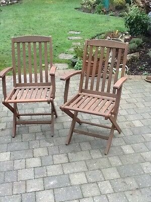 pair of hardwood garden chairs with arms good condition, folding