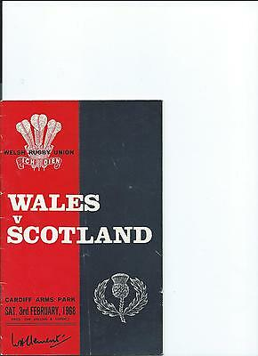 Wales Vs Scotland Rugby Programme Saturday 3rd February 1968