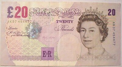 Twenty Pounds British Banknote Real Currency