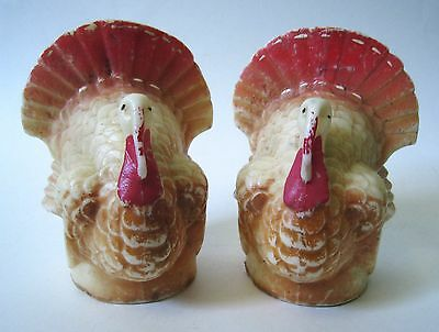 Vintage Pair GURLEY CANDLES BIG TURKEYS 40's Extra Large Size Marked
