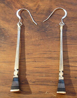 Niger long large ebony Tuareg earrings with square ends and silver hooks