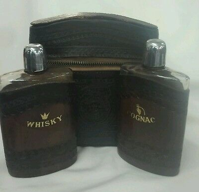 Two (2) Vintage Leather Covered Flasks In Leather Case