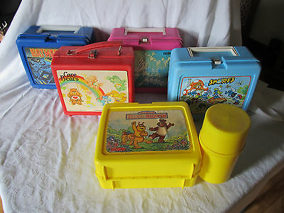 Plastic lunchboxes-5 Thermos 1 Aladdin-Carebears Teddy Ruxpin-Smurfs-more