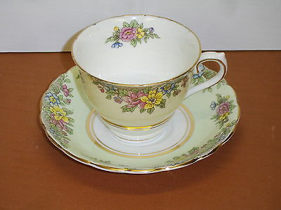 Vintage Colclough China Bone China Longton England Cup and Saucer Green Flowers