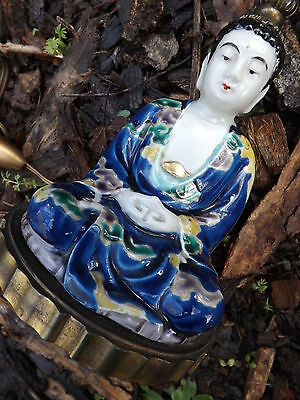 Antique seated  BUDDHA Lamp Porcelain Chinese or French 1900