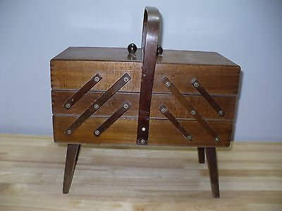 Vintage Mid Century Accordian Fold Out 3 Tier Wood Sewing Box Basket Danish Mod