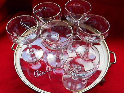 6 Small Stemmed Liquer/sherry Glasses On A Tray