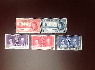 British Solomon Islands 1937 Coronation & 1945 Victory Sets MH