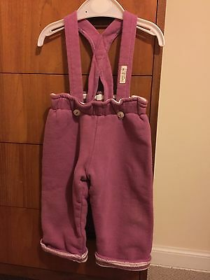 Organic Kids Girls Reversible Trousers With Braces 9-12 Months