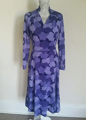 LADIES VINTAGE 70s CLOUD PRINT DRESS SIZE 10-12