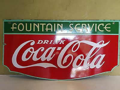 Extremely Rare Coca Cola Fountain Service Double Sided Porcelain Sign 1934