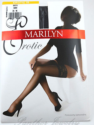 Marilyn Erotic 15 Den Self-supporting stockings Hold-ups, Color Black, Size 5-XL