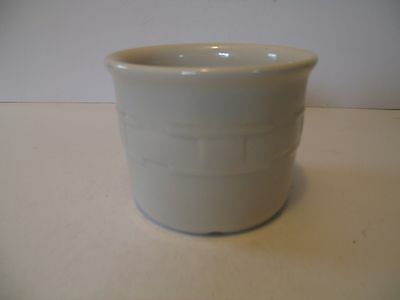 LONGABERGER POTTERY Ivory WOVEN TRADITIONS Pint CROCK ~ Made in USA