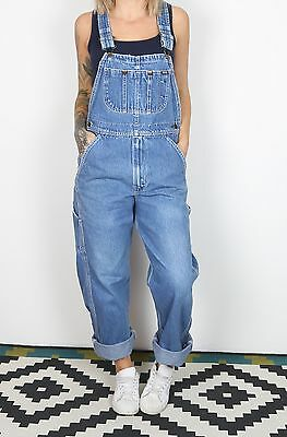 Dungarees UK 10 Small Fitted Oversized 8 XS Denim Mid Blue  (KDE)