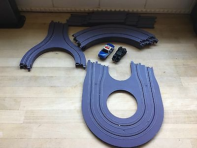 Micro Scalextric Pair Of 1:64 Cars - Batman And  Police Car  + Track Bundle