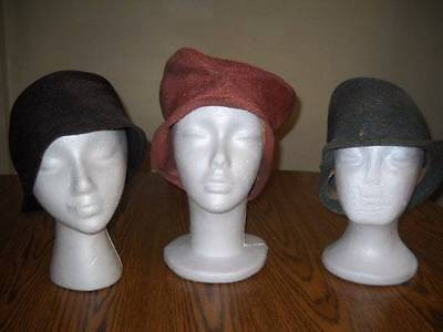 LOT OF 3 FRENCH STYLE VINTAGE 1920s FLAPPER SISAL CLOCHE HATS Original Lot#11
