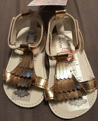 Baby Girl Gold Sandals Shoes 0-6M Bnwt