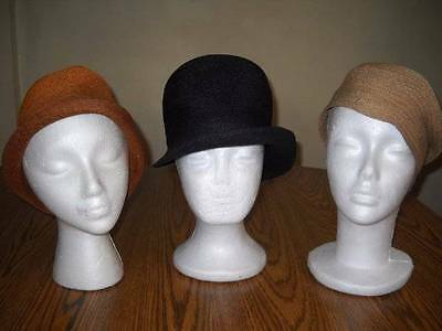 LOT OF 3  FRENCH STYLE VINTAGE 1920s FLAPPER SISAL CLOCHE HATS Original Lot#14