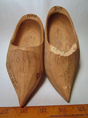WW II Some Where in France signed wood shoes autograph 25 april 45 Mom Dad
