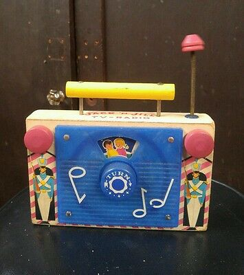 Vintage Fisher Price 1959 Wooden  Toy Jack N Jill Tv Radio #148.  Rare.