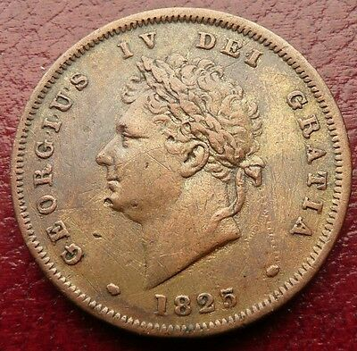 1825 George Iv British One Penny Coin - Good Grade - See!