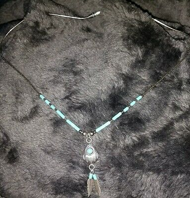 "925 silver hallmarked turquoise necklace dream catcher American Indian 16"" long"