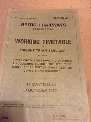 Working Timetable Section YH ECML Freight 1982