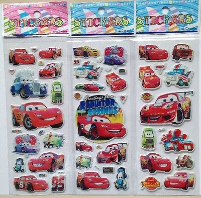 NEW-CARS  3pcs RADIATOR SPRINGS PVC Puffy Stickers