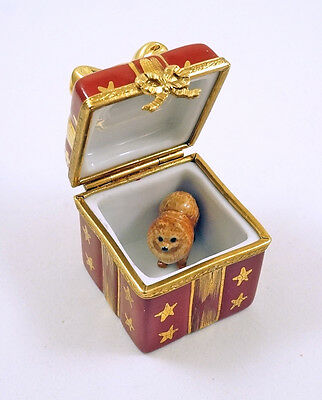 New French Limoges Trinket Box Red Christmas Gift Box Gold Bow & Pomeranian Dog