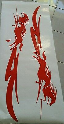 Large Red Horse Float Pin Stripe Sticker Decal Ute,4Wd , Trailer Style