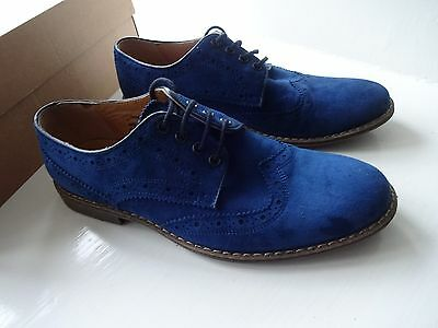 Mens Brogue Blue Suede Shoes Size 40/7 Leather Inside And Out