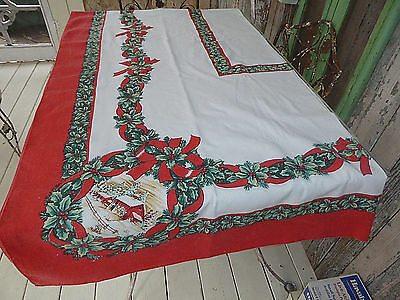 """Christmas Tablecloth Barn Scene in Corners Holly Berries Bows ex lg sz 108""""Lx60W"""