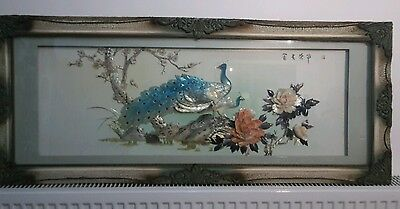 3D Traditional Chinese Painted Carved Shell Picture