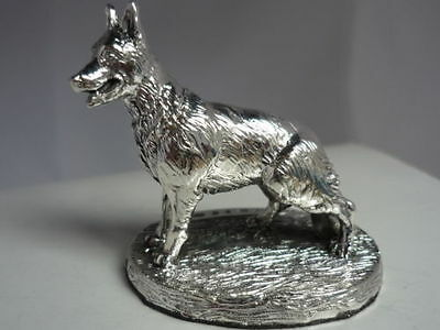Stunning Hallmarked Sterling Silver German shepherd Dog statue
