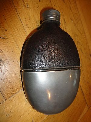 Vintage Glass, Pewter and Leather Hip Flask