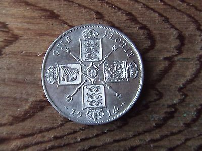 George V.   1914, Silver Florin.  Scarce.    Near Mint Condition.