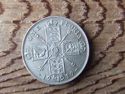 George V.   1919, Silver Florin.    Scarce.   Nice Condition.