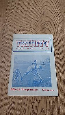 Wakefield Trinity v Keighley Sept 1970 Rugby League Programme