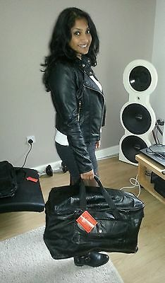 Large Black Pure Real Leather Luggage Sports Gym Travel Holdall Duffle Bag